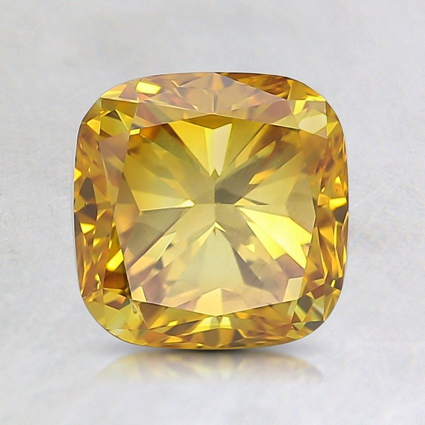 1.40 Ct. Fancy Vivid Orange-Yellow Cushion Lab Created Diamond