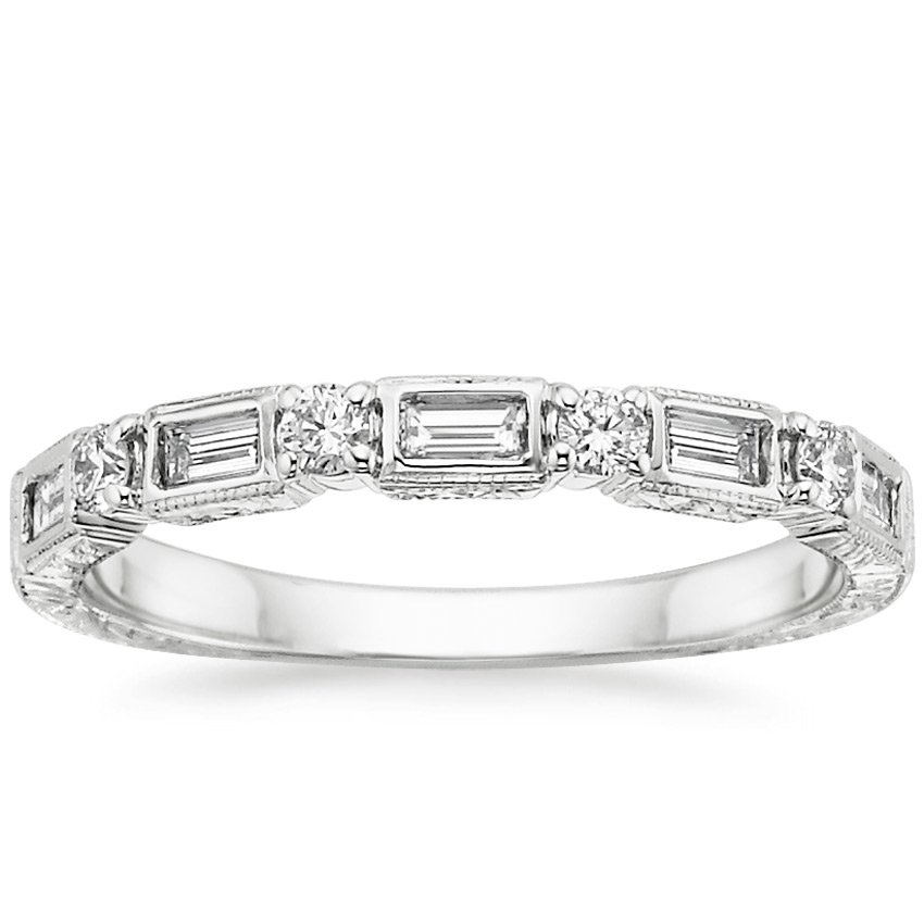 18K White Gold Vintage Diamond Baguette Ring (1/3 ct. tw.), top view