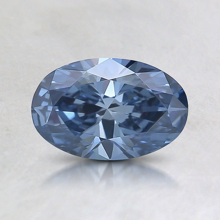 0.71 Ct. Fancy Intense Blue Oval Lab Created Diamond