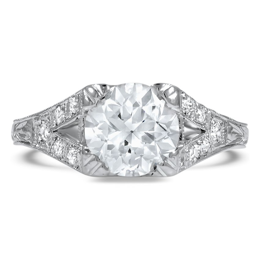 Custom Vintage-Inspired Split Shank Diamond Ring