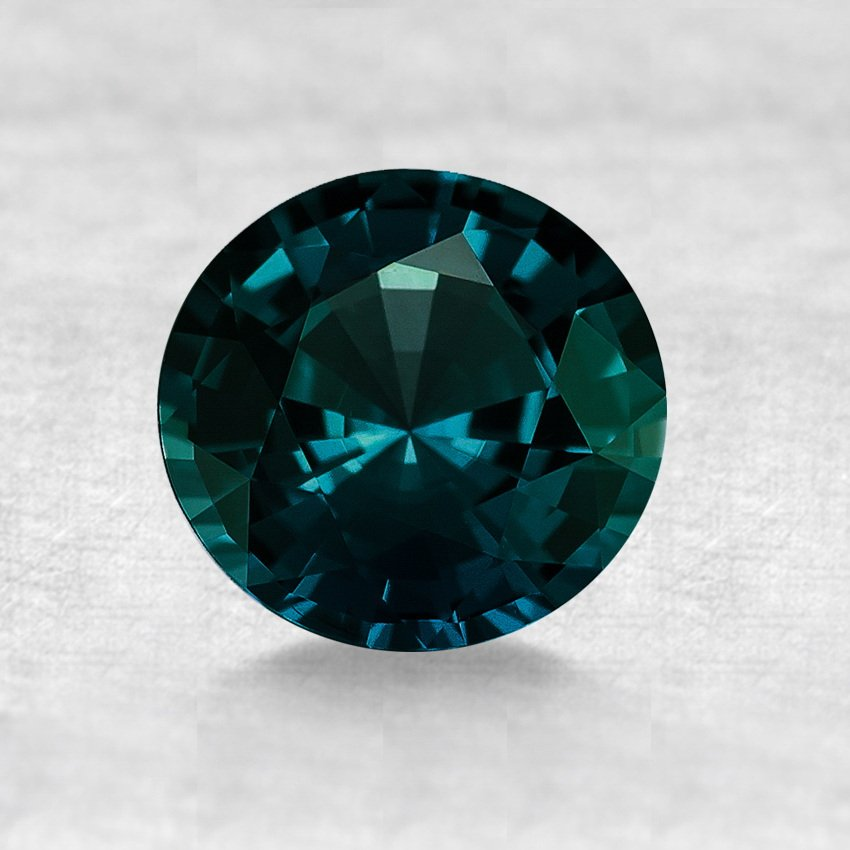 6.5mm Premium Dark Teal Round Sapphire, top view