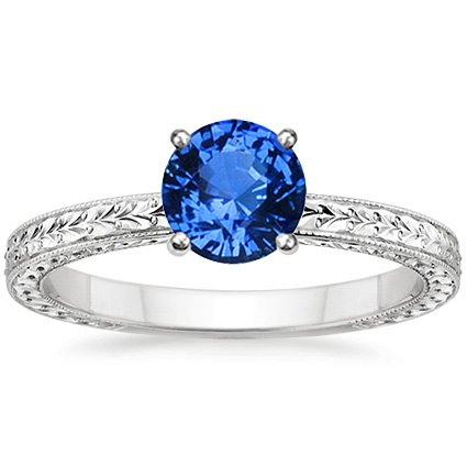 18K White Gold Sapphire Verona Ring, top view