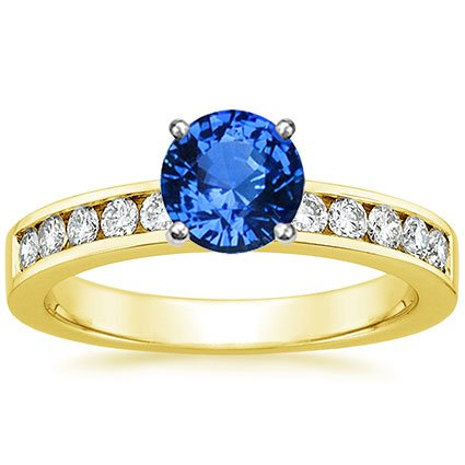18K Yellow Gold Sapphire Round Channel Diamond Ring, top view
