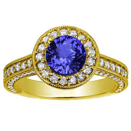 18K Yellow Gold Sapphire Luxe Pavé Diamond Halo Ring, top view
