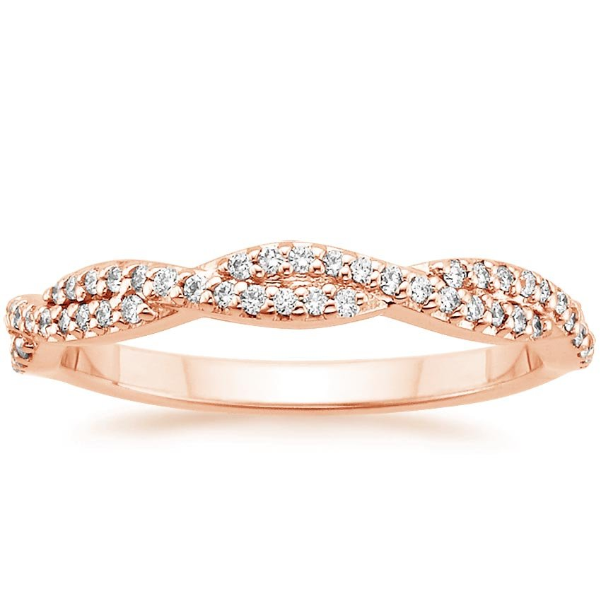 14K Rose Gold Luxe Twisted Vine Diamond Ring (1/4 ct. tw.), top view