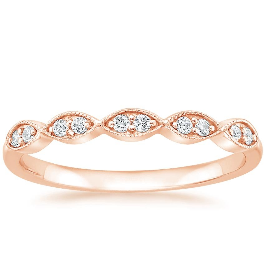 Rose Gold Vintage Inspired Milgrain Diamond Ring