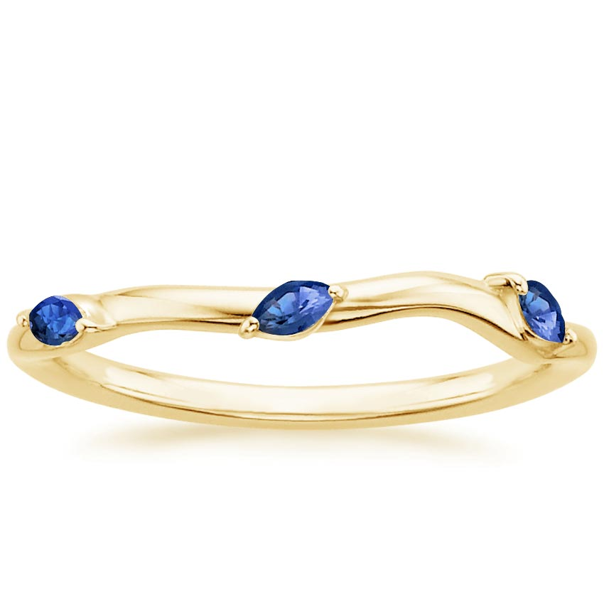 Yellow Gold Willow Contoured Ring With Sapphire Accents