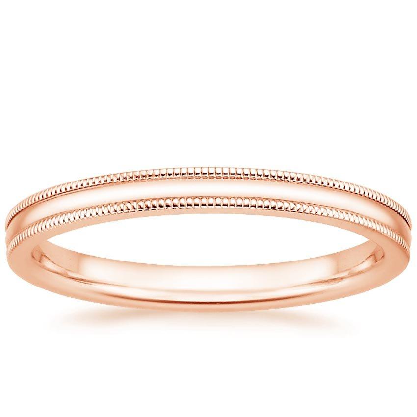 14k Yellow Gold High Polished 2mm Traditional Milgrain: 2mm Milgrain Wedding Ring In 14K Rose Gold