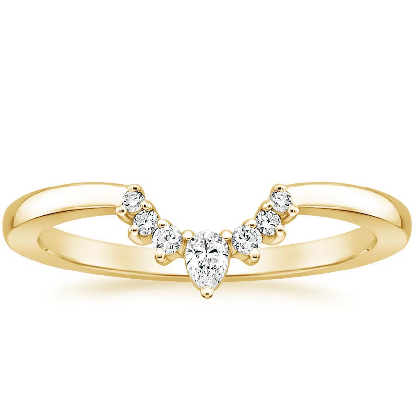 Yellow Gold Lunette Diamond Ring