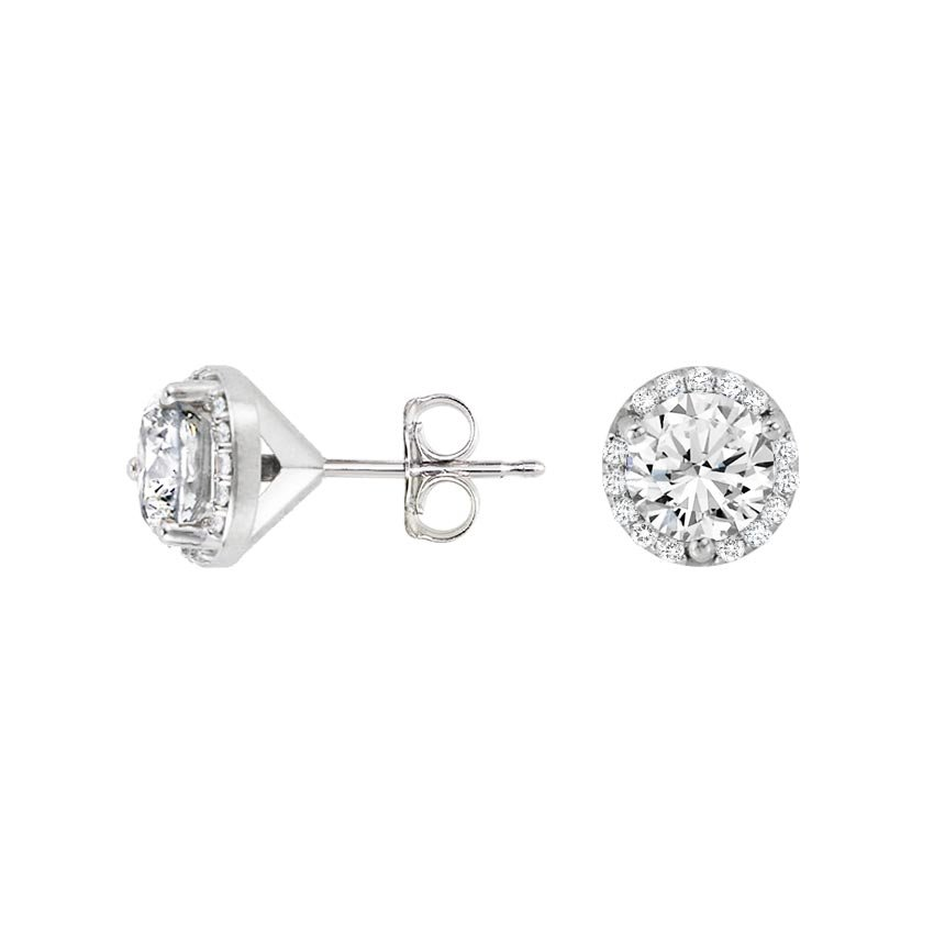18K White Gold Luxe Diamond Halo Earrings (over 1 ct. tw.), top view