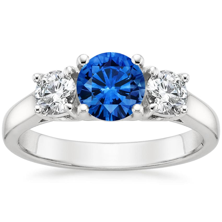 Sapphire Three Stone Diamond Trellis Ring In 18k White Gold
