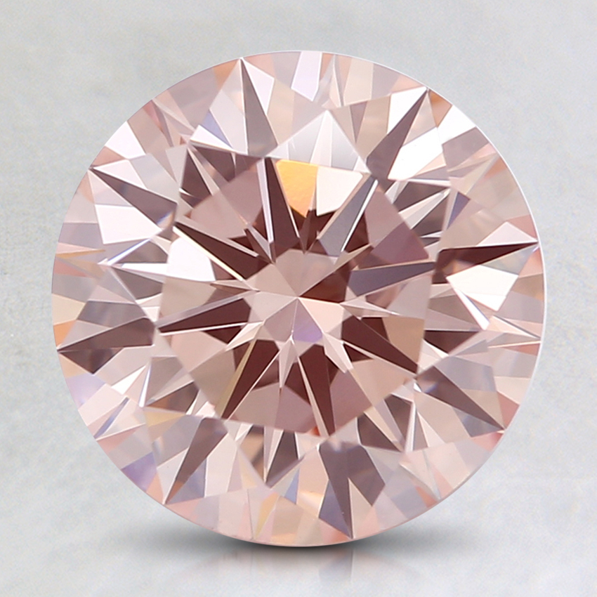 2.21 Ct. Fancy Light Orangy Pink Round Lab Created Diamond