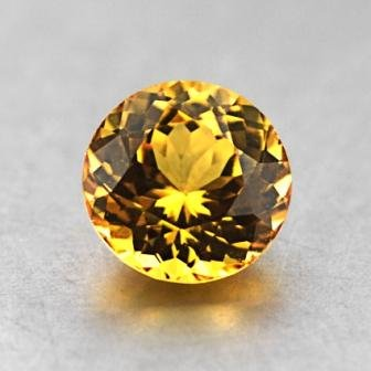 6.45mm Unheated Yellow Round Sapphire, top view