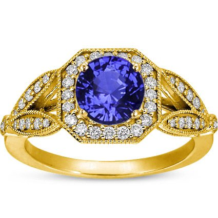 Sapphire Luxe Victorian Split Shank Halo Ring in 18K Yellow Gold with 6.5mm Round Blue Sapphire