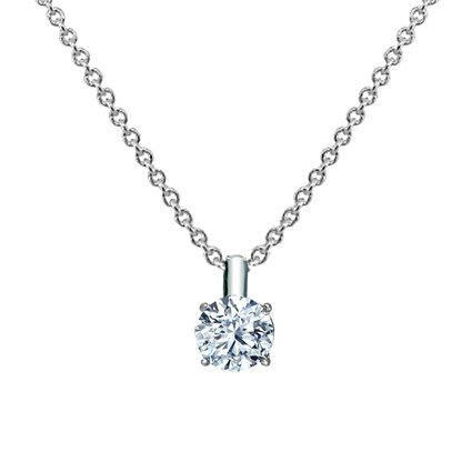 18K White Gold Four-Prong Diamond Pendant (1/4 ct. tw.), top view