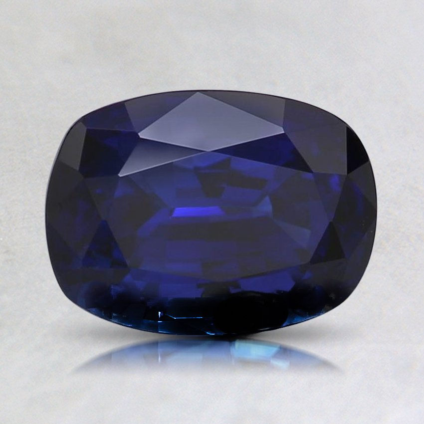 8X5.9mm Super Premium Blue Cushion Sapphire, top view