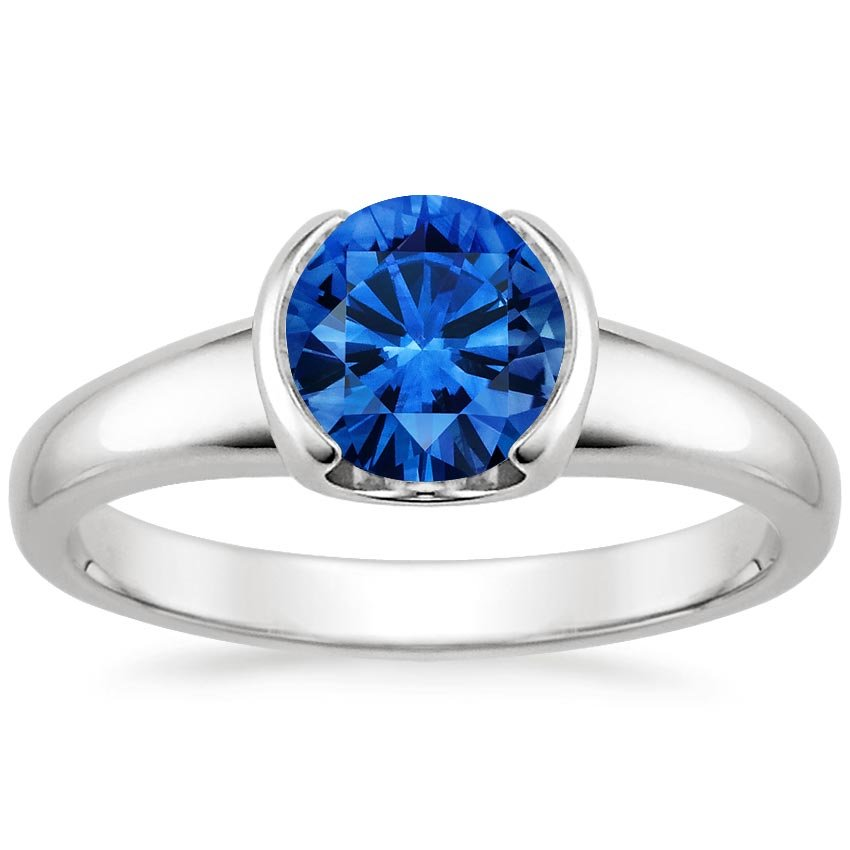 18K White Gold Sapphire Petite Semi-Bezel Ring, top view