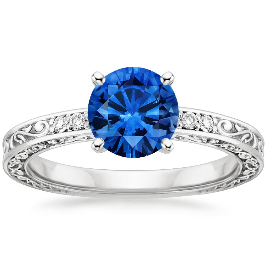 18K White Gold Sapphire Delicate Antique Scroll Diamond Ring, top view