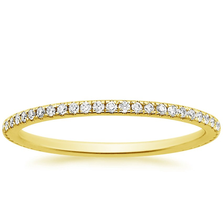 18K Yellow Gold Eternity Whisper Diamond Ring, top view