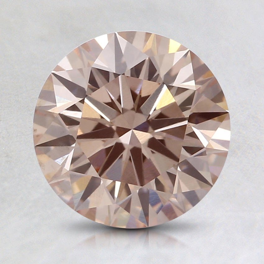 1.64 Ct. Fancy Light Orangy Pink Round Lab Created Diamond