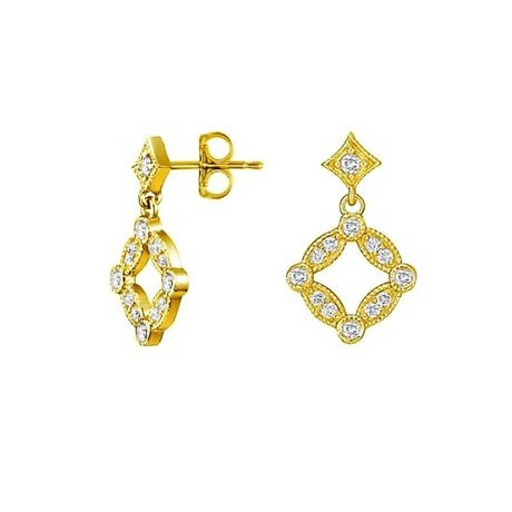 Tiara Diamond Earrings in 18K Yellow Gold