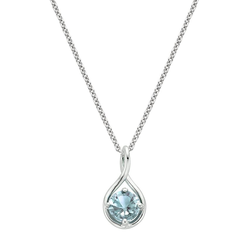 Top Twenty Gifts - SILVER AQUAMARINE TWIST PENDANT