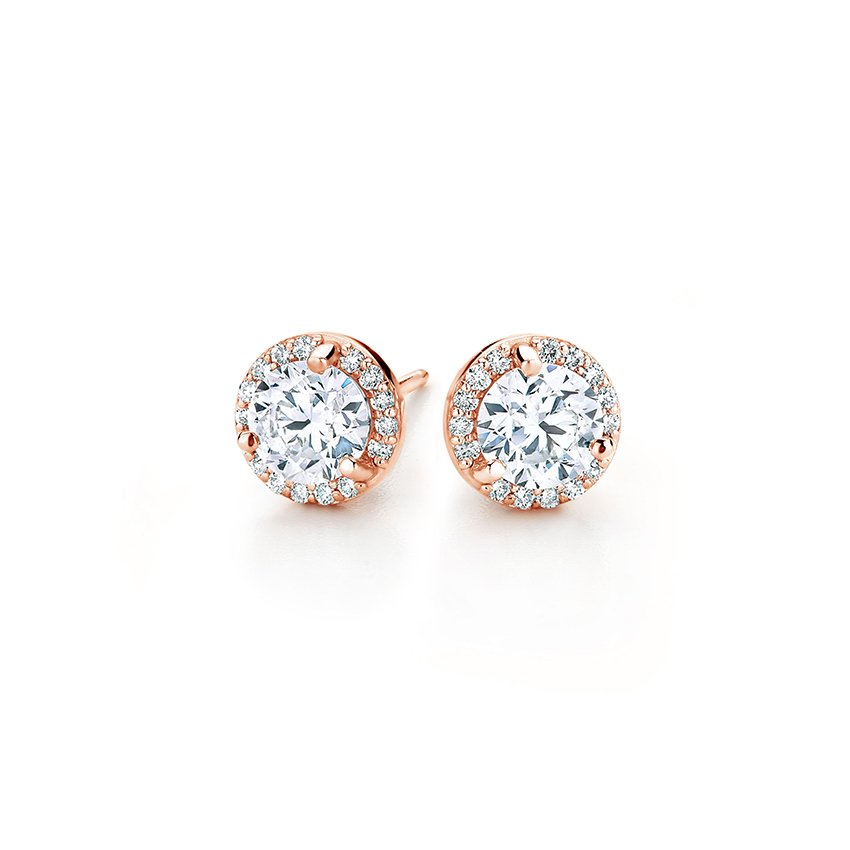 14K Rose Gold Halo Diamond Earrings, top view