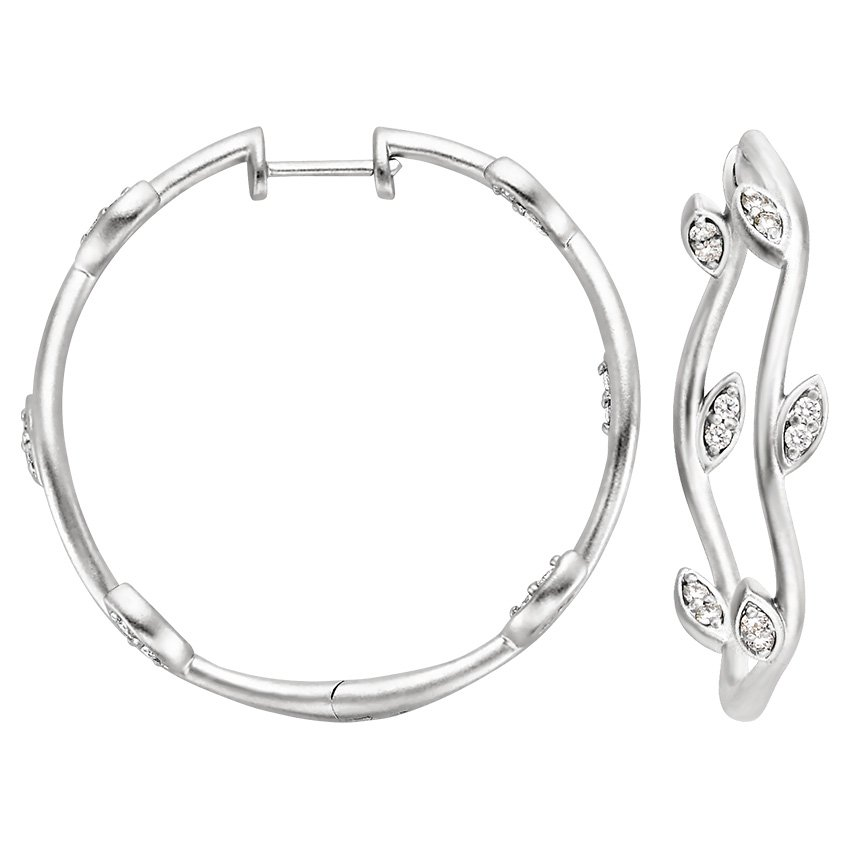 18K White Gold Willow Hoop Earrings (1/3 ct. tw.), top view