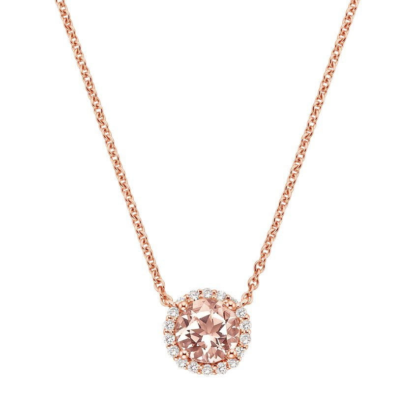 Morganite Halo Diamond Necklace