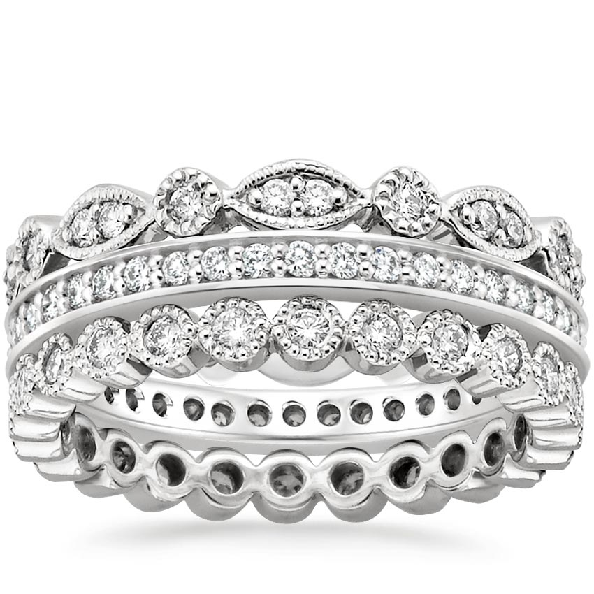 18K White Gold Luxe Antique Eternity Diamond Ring Stack (1 ct. tw.), top view