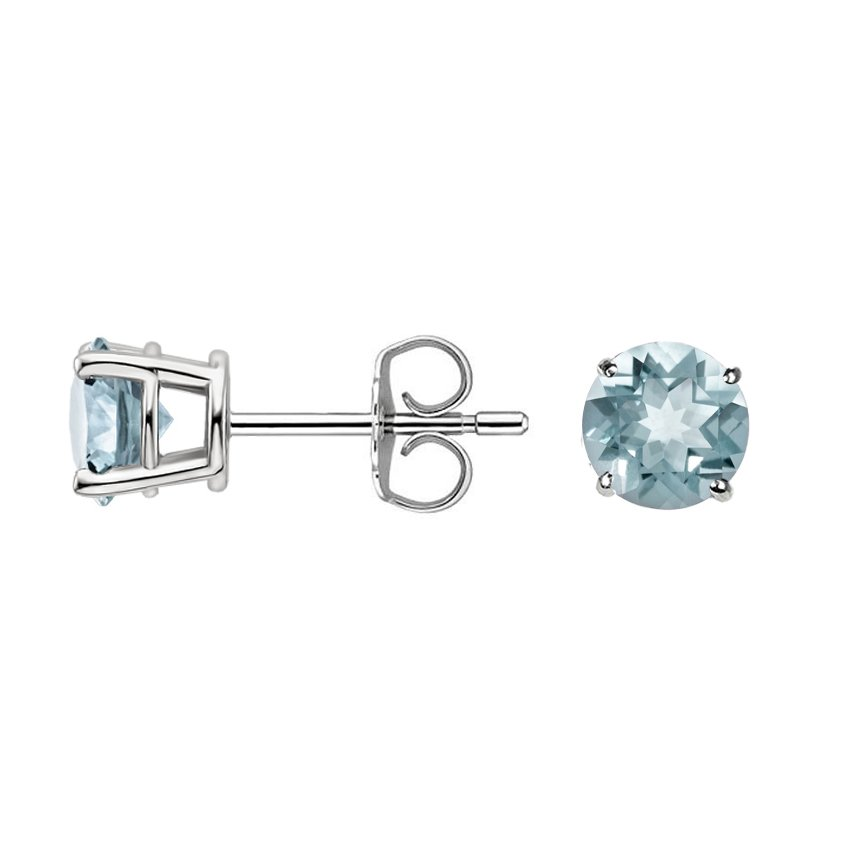 Top Twenty Gifts - SILVER AQUAMARINE STUD EARRINGS (6MM)