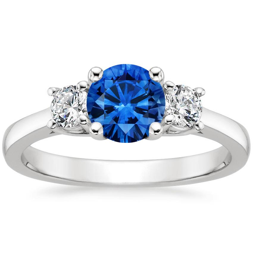 18K White Gold Sapphire Petite Three Stone Trellis Ring (1/3 ct. tw.), top view