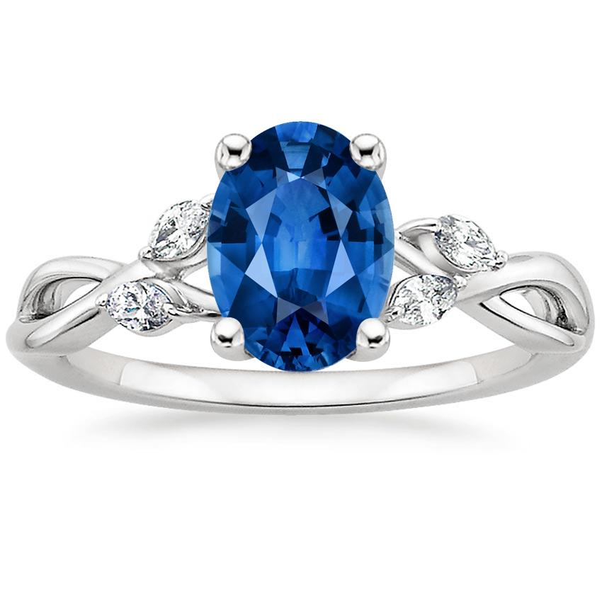 Sapphire Willow Diamond Ring (1/8 ct. tw.) in Platinum with 8x6mm Oval Blue Sapphire