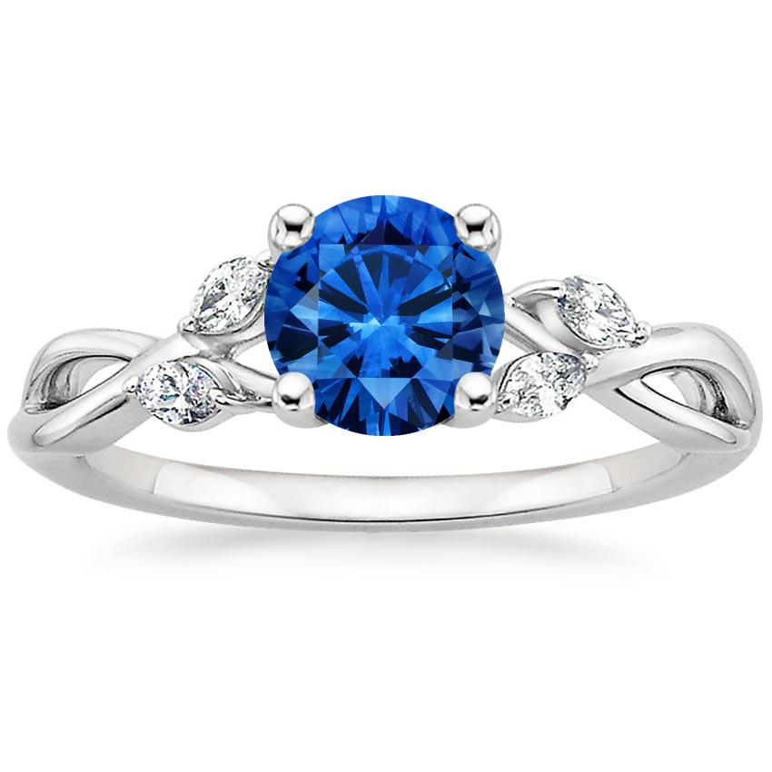 Sapphire Willow Diamond Ring (1/8 ct. tw.) in 18K White Gold with 6mm Round Blue Sapphire