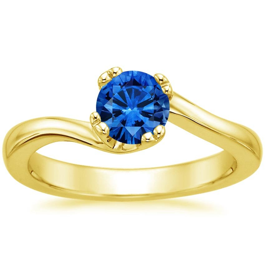 18K Yellow Gold Sapphire Seacrest Ring, top view