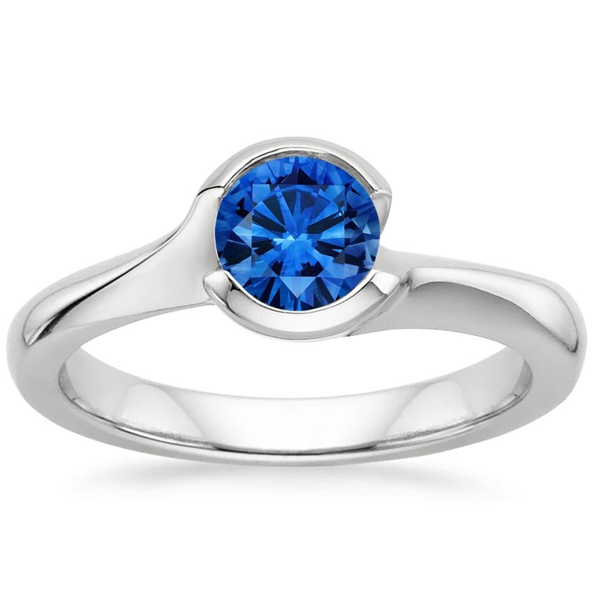 Sapphire Cascade Ring in Platinum with 5.5mm Round Blue Sapphire