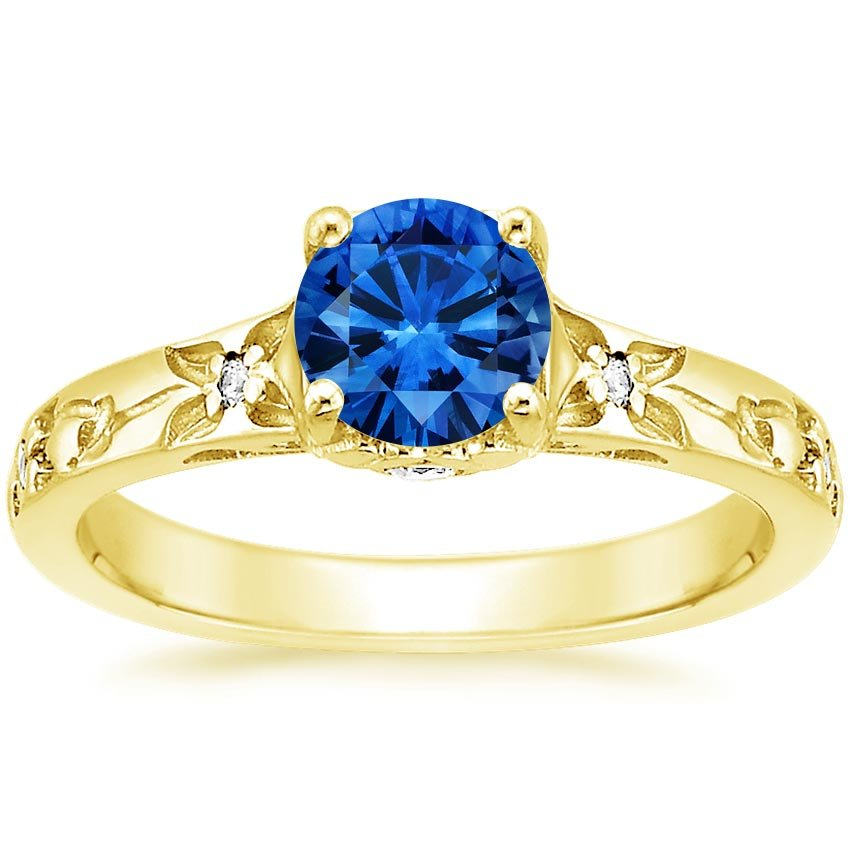 18K Yellow Gold Sapphire Flower Bud Ring, top view