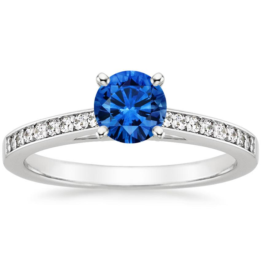 Sapphire Starlight Diamond Ring in 18K White Gold with 5.5mm Round Blue Sapphire