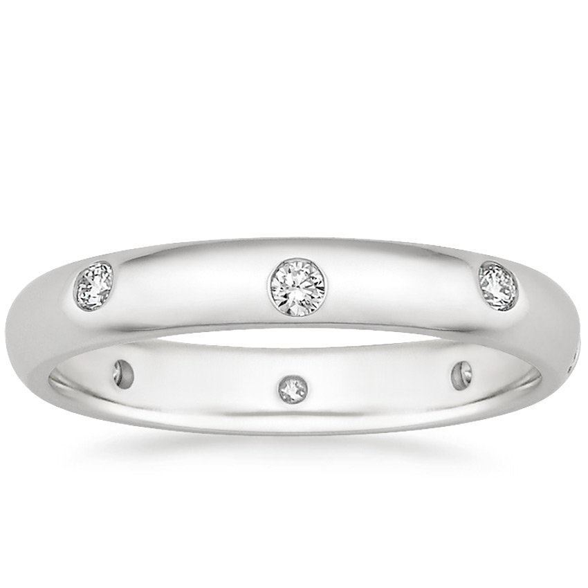 18K White Gold Nova Wedding Ring, top view