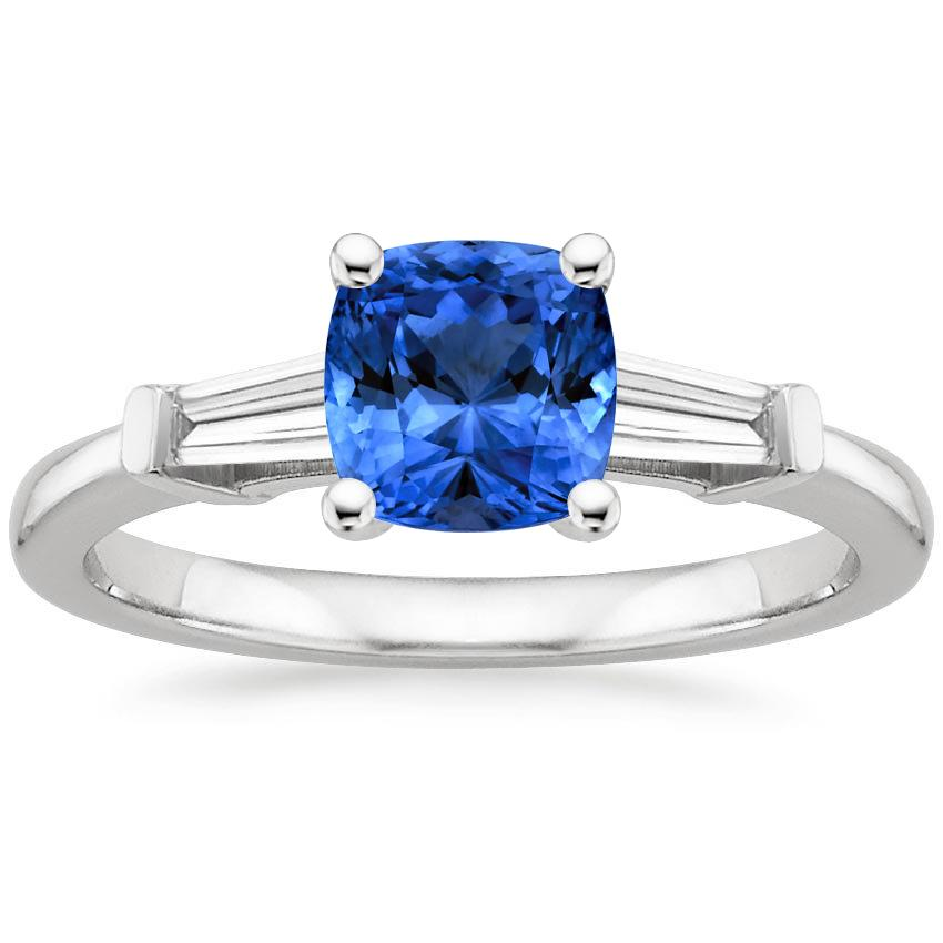 Sapphire Tapered Baguette Diamond Ring in 18K White Gold with 6x6mm Cushion Blue Sapphire