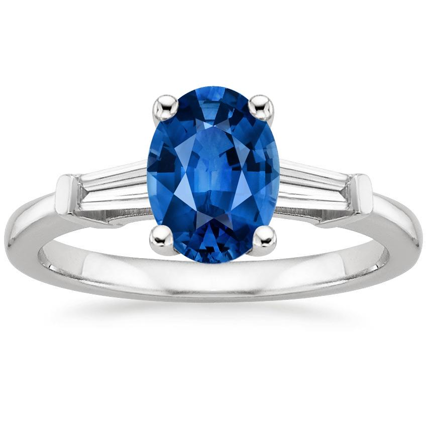 Sapphire Tapered Baguette Diamond Ring in Platinum with 8x6mm Oval Blue Sapphire