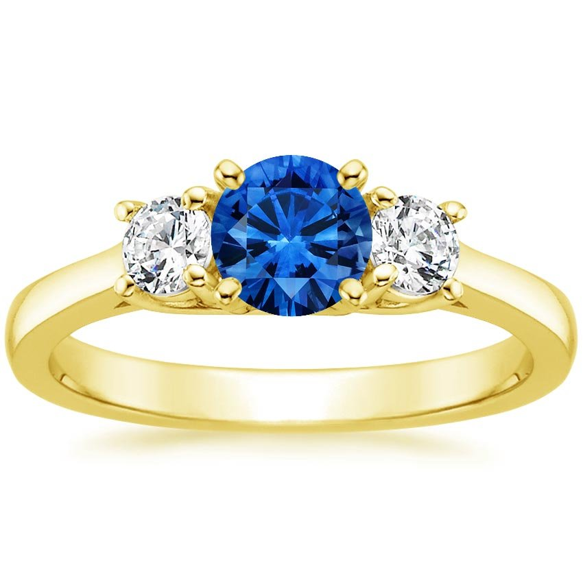 18K Yellow Gold Sapphire Petite Three Stone Trellis Ring, top view