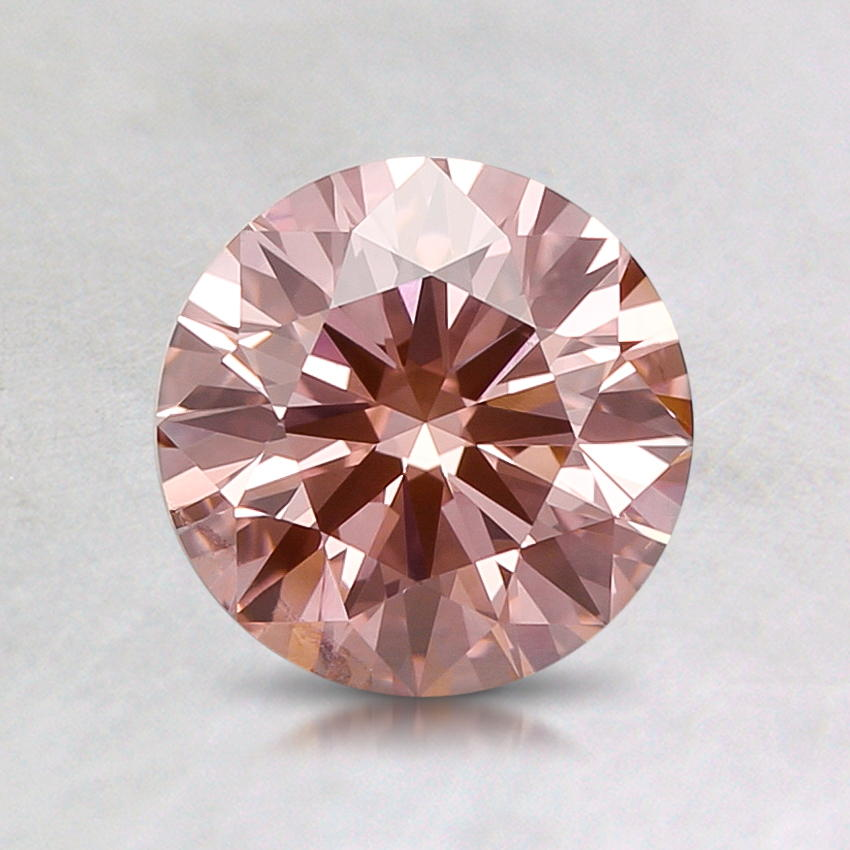 0.97 ct. Lab Created Fancy Intense Pink Round Diamond, top view