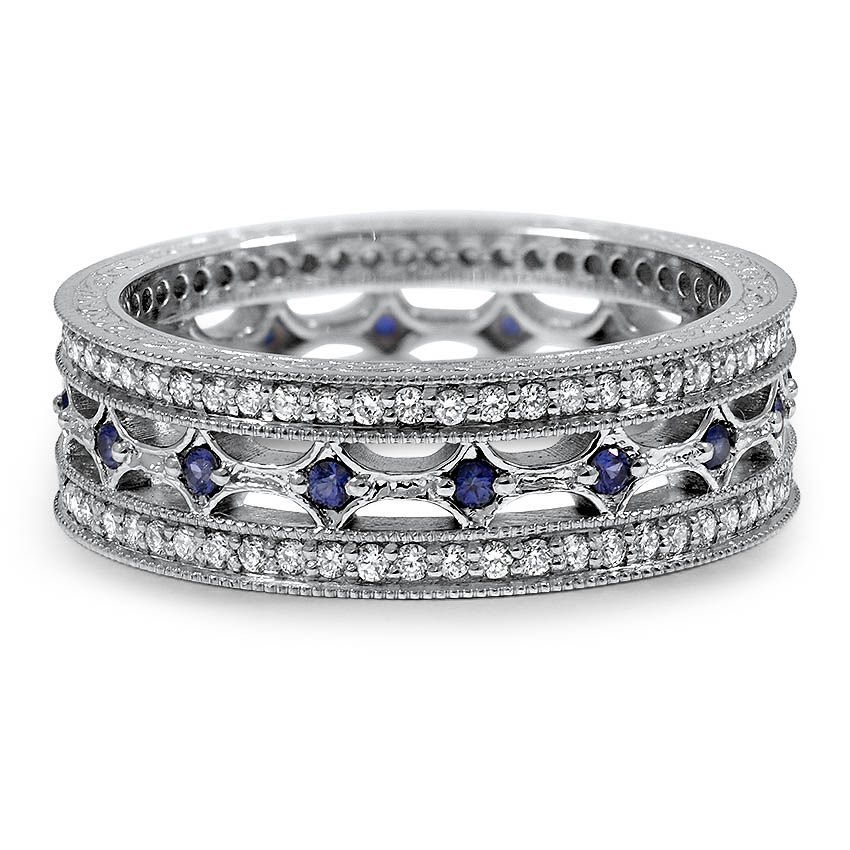 Custom Eternity Style Diamond and Sapphire Ring