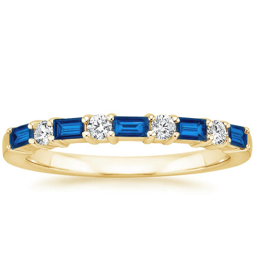 Yellow Gold Baguette Sapphire Wedding Band