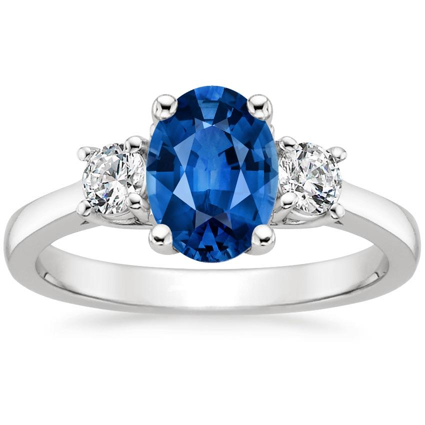 Sapphire Petite Three Stone Trellis Ring (1/3 ct. tw.) in Platinum with 8x6mm Oval Blue Sapphire