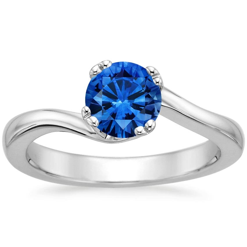 Sapphire Seacrest Ring in 18K White Gold with 6mm Round Blue Sapphire