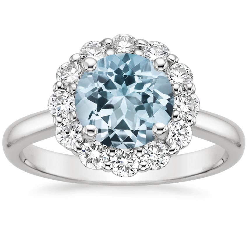 Aquamarine Lotus Flower Diamond Ring (1/4 ct. tw.) in 18K White Gold