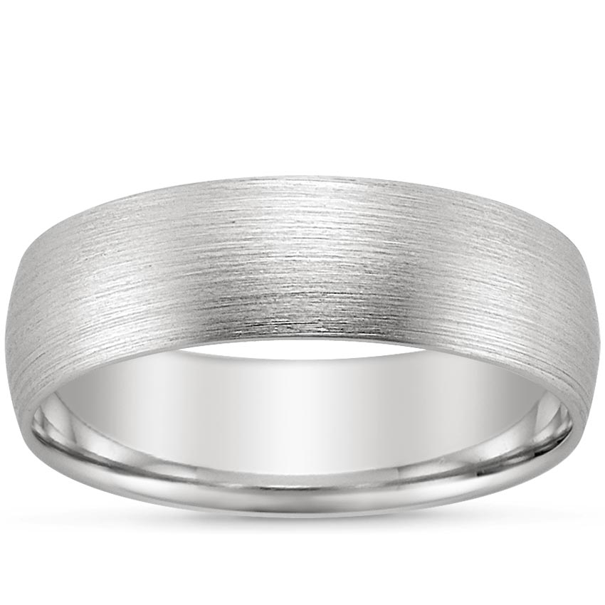 18K White Gold 6mm Matte Comfort Fit Wedding Ring, top view