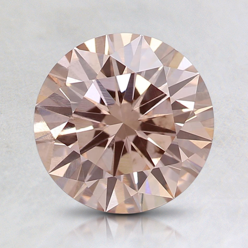 1.51 Ct. Fancy Light Orangy Pink Round Lab Created Diamond